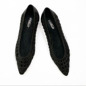 Seychelles Woven Pointed Toe Flats in Black